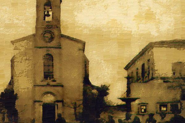 la calmette ancienne place de l'église et fontaine