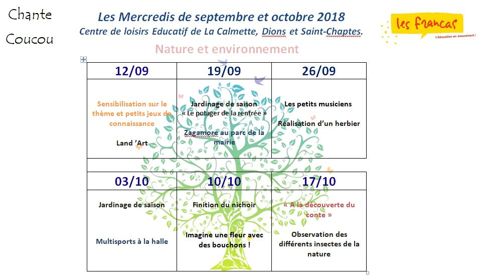 planning mercredis septembre octobre 2018 vu sp